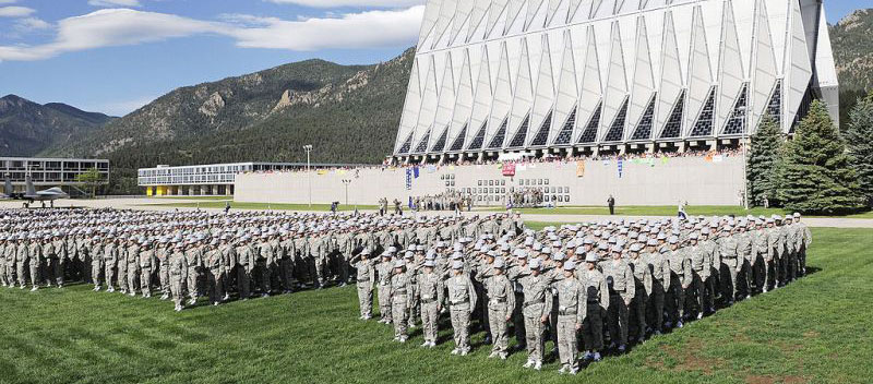 Cadets in formation in front of the U.S. Air Force Academy Chapel in Colorado Springs, Colorado
