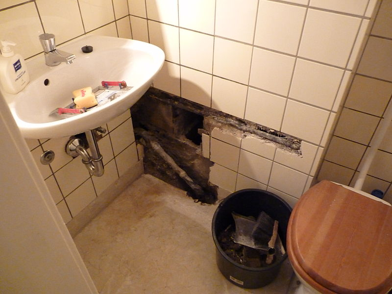 bathroom damaged by burst pipe