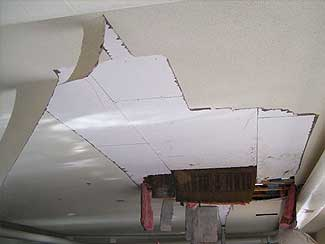 A ceiling damged by a pipe burst.