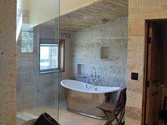 Bathroom with modern finishings.