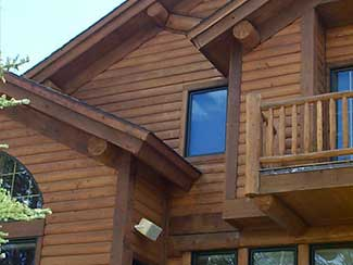 Wood cabine with wooden finishes on exterior.